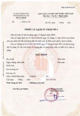 Lý lịch tư pháp Việt Nam cho người nước ngoài làm việc tại Hà Nội