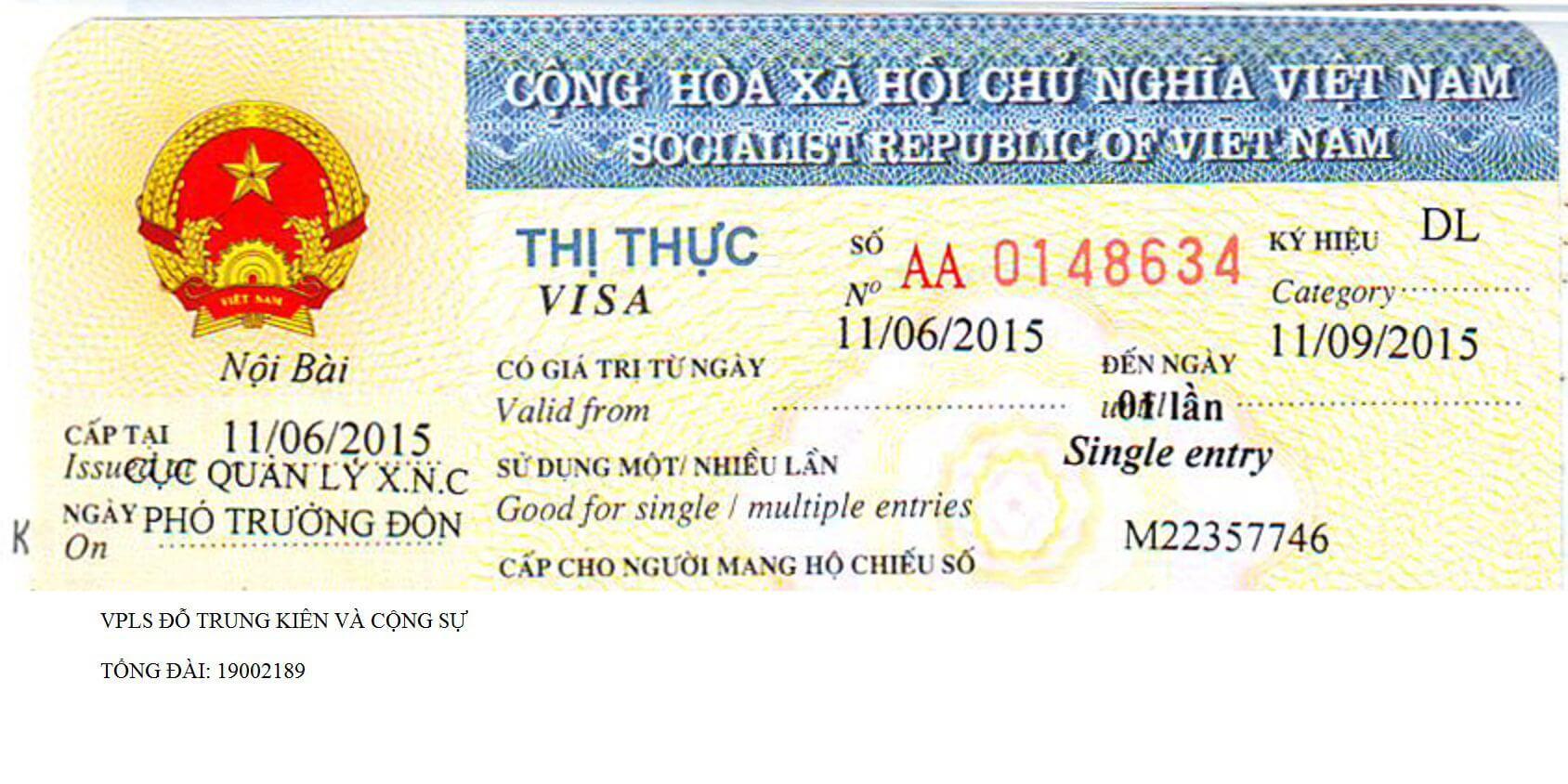 thủ tục cấp thị thực, visa, thẻ tạm trú cho người nước ngoài
