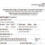 Tờ khai đề nghị cấp thị thực gia hạn tạm trú