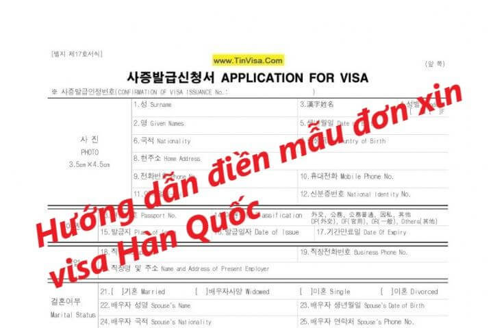 Hướng đẫn điền mẫu đơn xin visa Hàn Quốc